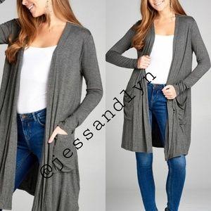 Sweaters - 🆕 FARRAH Long sleeve open cardigan w/pockets